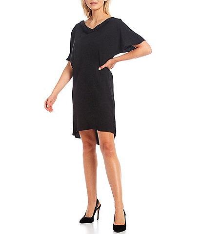 Trina Turk Islet Cowl Neck Short Flutter Sleeve High-Low Shift Dress