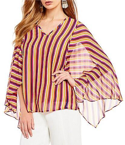 Trina Turk La Paz Bell Sleeve Stripe Blouse