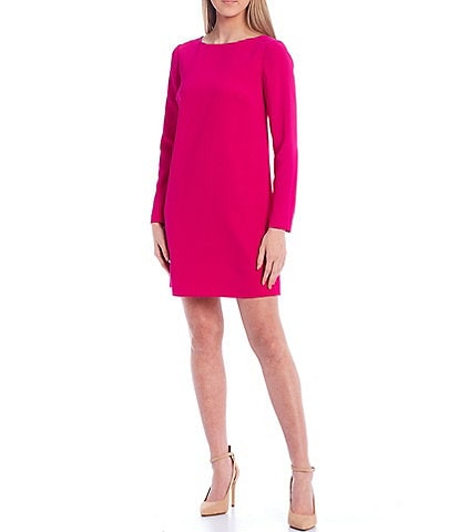 Trina Turk Lavaliere Boat Neck Long Sleeve Shift Dress