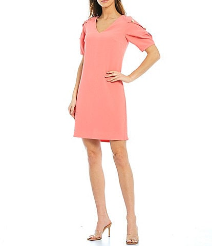 Trina Turk Lemonade V-Neck Puff Button Sleeve Detail Sheath Dress