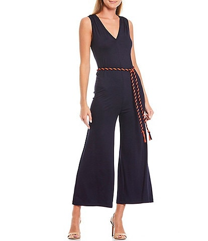 Trina Turk Luminosity V-Neck Sleeveless Twist Cord Belted Crop Wide Leg Jumpsuit