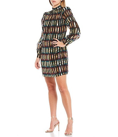 Trina Turk Masterpiece Colorful Metallic Mock Neck Puff Sleeve Shift Dress