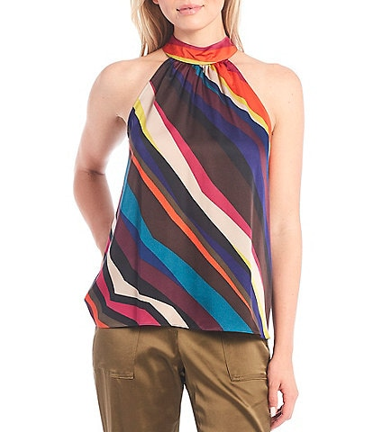 Trina Turk Multicolor Diagonal Stripe Print Halter Neck Sleeveless Kathleen Top