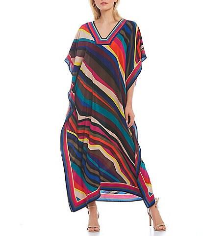 Trina Turk Multicolor Diagonal Stripe Square Neck 3/4 Sleeve Silk Maxi Caftan Dress