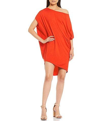 Trina Turk One Shoulder Asymmetric Hem Radiant Dress