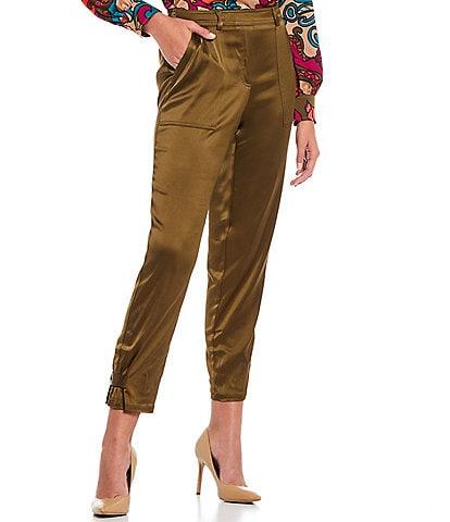 Trina Turk Opportune Satin Button Hem Detail Pull-On Skinny Ankle Pants