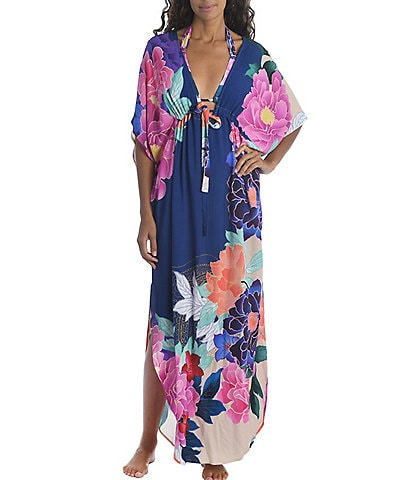 Trina Turk Opulent Oasis Floral Print Maxi Caftan Swim Cover Up