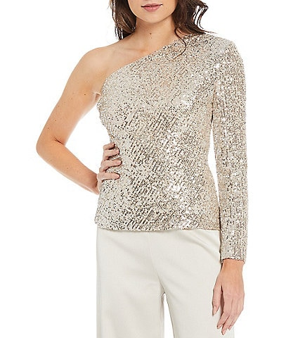 Trina Turk Over the Moon Sequin Asymmetrical Neck One Shoulder Long Sleeve Top