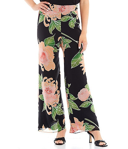 Trina Turk Parsley Floating Chrysanthemum Floral Print Wide Leg Pull-On Coordinating Pants