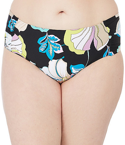 Trina Turk Plus Size Sintra Flora Shirred Side Mid-Rise Hipster Swim Bottom