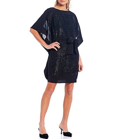 Trina Turk Prize Tie Waist Metallic Dress