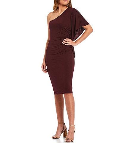 Trina Turk Ratio Asymmetrical Neck One Shoulder Short Sleeve Side Ruching Detail Bodycon Dress