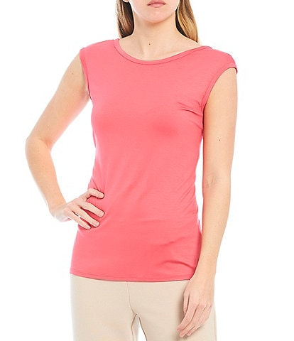 Trina Turk Round Neck Cap Sleeve Cut-Out Back Cami Top