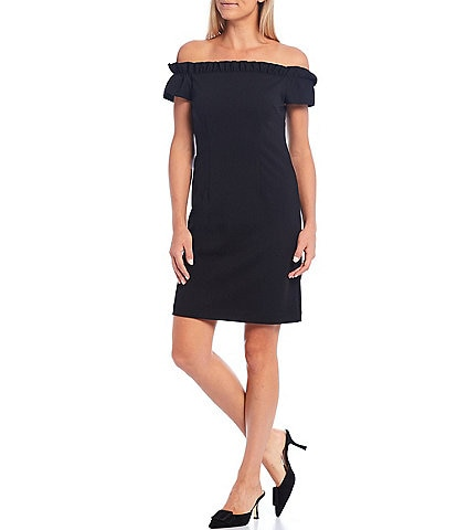 Trina Turk Seek Off-The-Shoulder Ruffled Neckline Sheath Dress