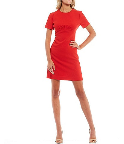 Trina Turk Short Sleeve Pleated Waist Seam Sheath Dress