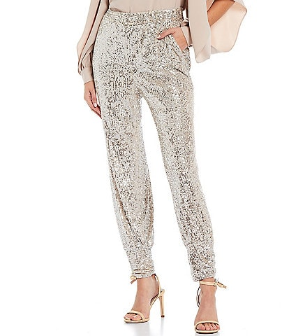 Trina Turk Sparkler Pull-On High Rise Sequin Coordinating Joggers