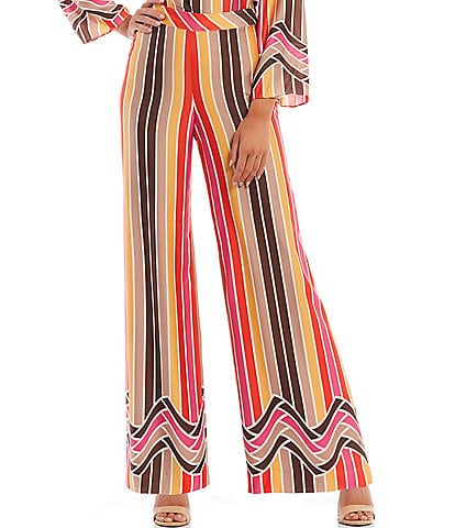 Trina Turk Striped Placed Border Print Long Weekend Pants