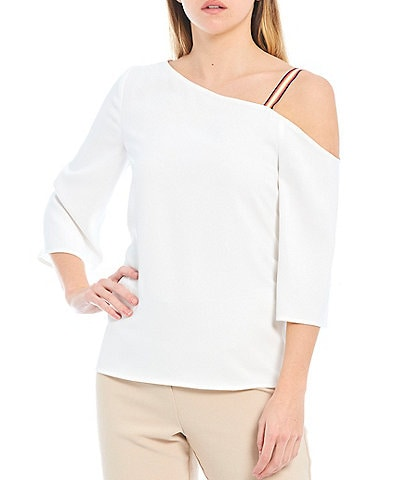 Trina Turk Superior Asymmetrical Neckline Open-Shoulder 3/4 Sleeve Top