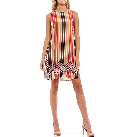 Trina Turk Taylor Striped Border Print Side Slit Sleeveless Overlay Shift Dress