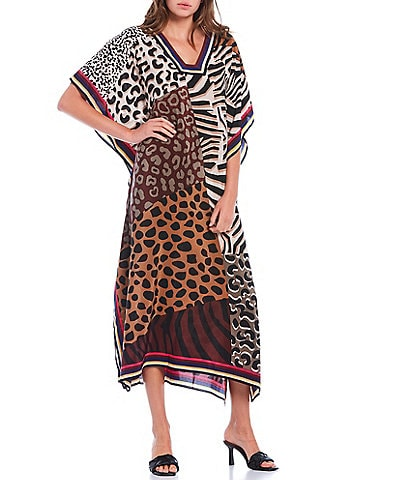 Trina Turk Theodora Animal Print Elbow Sleeve Midi Caftan Dress