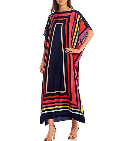 Trina Turk Theodora Placed Print Boat Neck Silk Caftan Maxi Dress