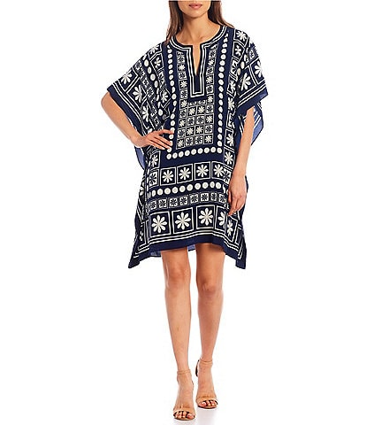 Trina Turk Theodora Placed Print Silk Split V-Neck Caftan Dress