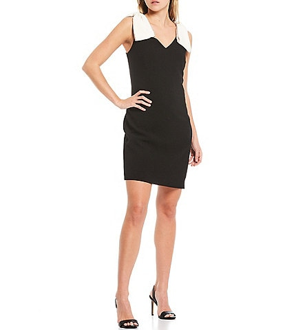 Trina Turk V-Neck Rhinestone Trimmed Bow Shoulder Sleeveless Sheath Dress