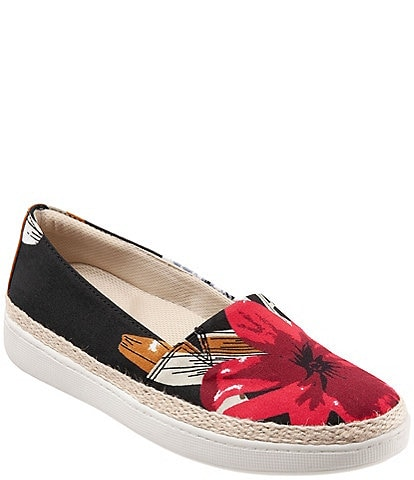 Trotters Accent Floral Print Canvas Espadrille Slip-Ons
