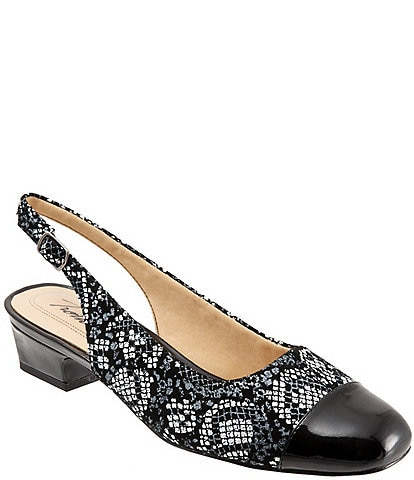 Trotters Dea Python-Printed Leather Sling Pumps