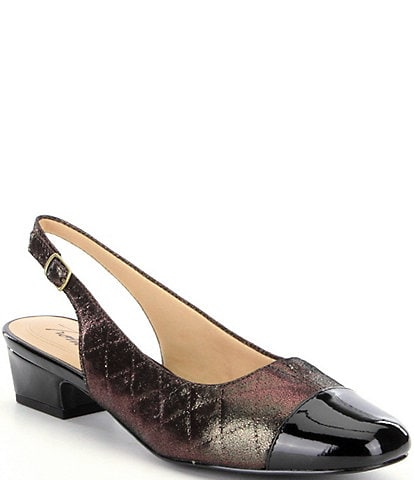 Trotters Dea Quilted Slingback Block Heel Pumps