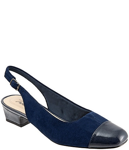 Trotters Dea Suede and Patent Slingback Block Heel Pumps