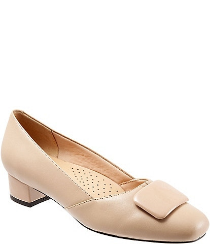 Trotters Delse Leather Block Heel Pumps