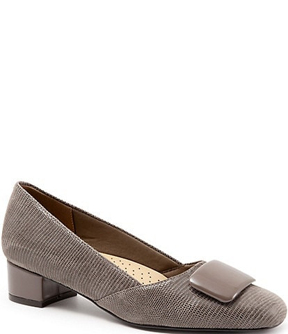Trotters Delse Lizard Suede Block Heel Pumps