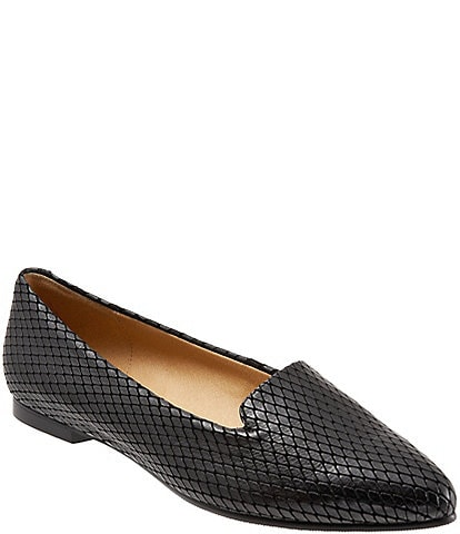 Trotters Harlowe Pattern Detail Leather Flats
