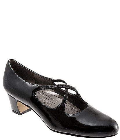 Trotters Jamie Patent Leather Cross Over Band Block Heel Pumps