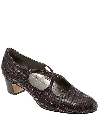 Trotters Jamie Snake Print Cross Over Band Block Heel Pumps
