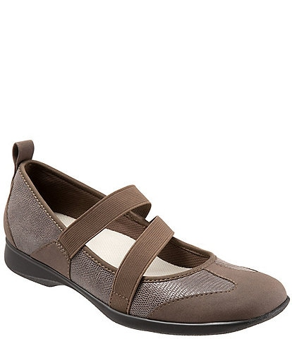 Trotters Josie Mary Jane Suede and Lizard Embossed Slip-On Shoes