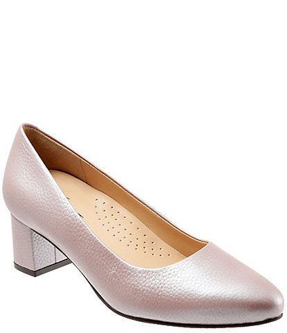 Trotters Kari Pearlized Leather Block-Heel Pumps