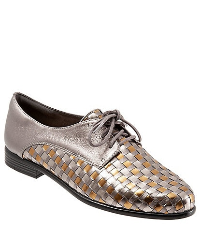 Trotters Lizzie Metallic Leather Tailored Oxfords