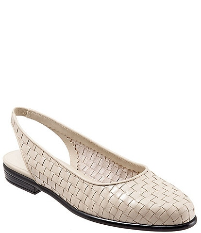 Trotters Lucy Woven Leather Slingback Flats