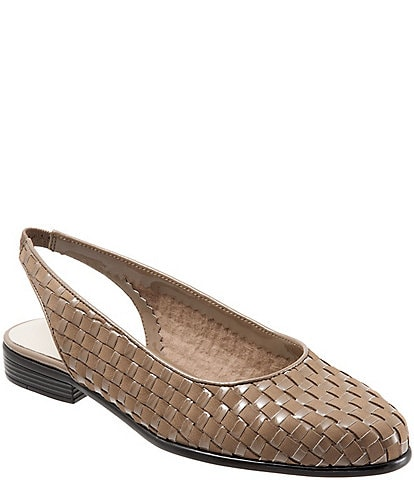Trotters Lucy Woven Nubuck and Patent Leather Slingback Block Heel Flats