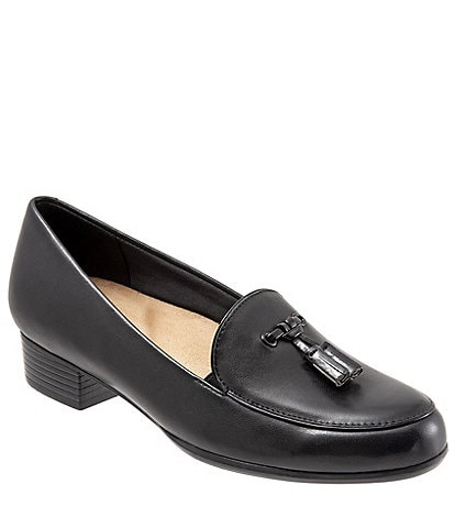 Trotters Mary Leather Tassel Block Heel Loafers