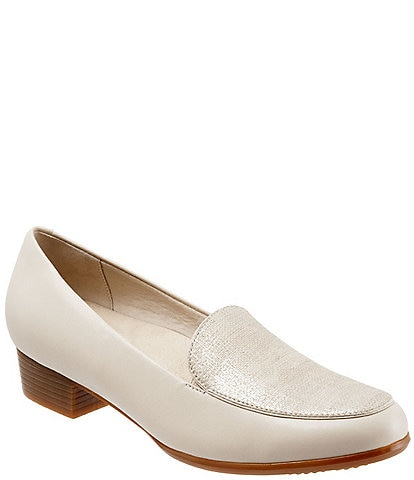 Trotters Monarch Leather and Linen Block Heel Loafers