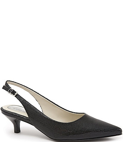 Trotters Prima Embossed Patent Leather Slingback Pumps
