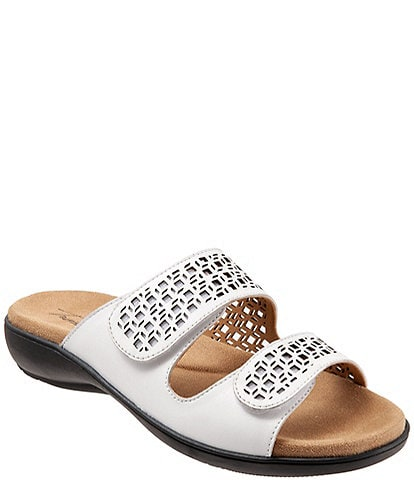 Trotters Ruthie Cutout Leather Hook and Loop Slide Footbed Sandals
