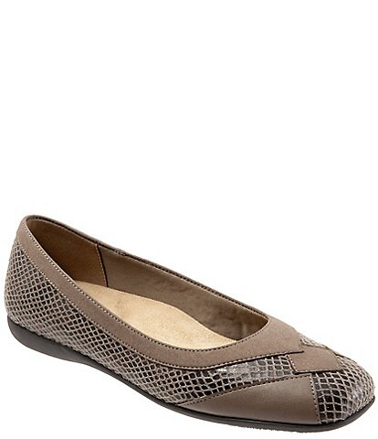 Trotters Sharp Snake Print Suede Ballerina Flats