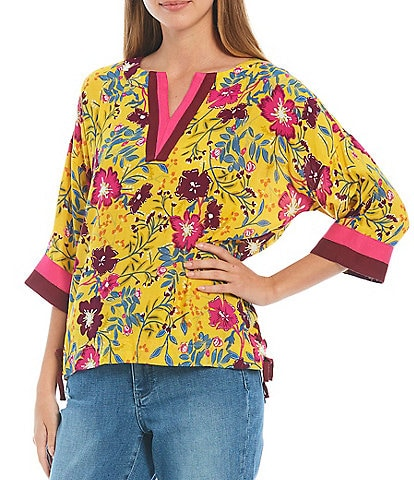 Tru Luxe Jeans 3/4 Sleeve Bright Floral Print Sport Trim Knit Top