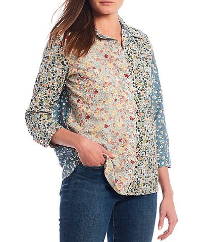 Tru Luxe Jeans 3/4 Sleeve Mixed Floral Print Button Front Shirt