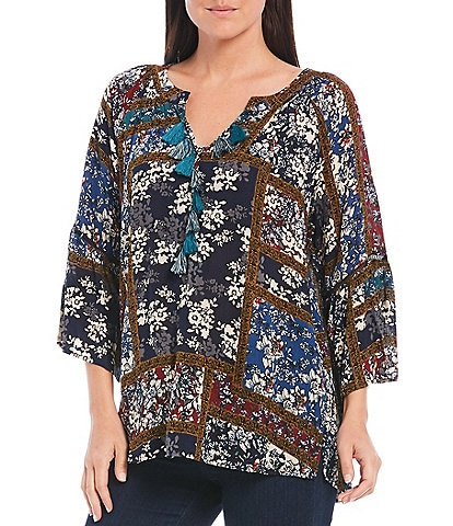 Tru Luxe Jeans 3/4 Sleeve Mixed Print Patchwork Tunic With Tassel Trim