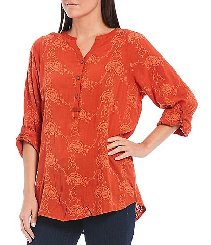 Tru Luxe Jeans All Over Embroidered Henley Smocked Shoulder Long Roll-Tab Sleeve Top